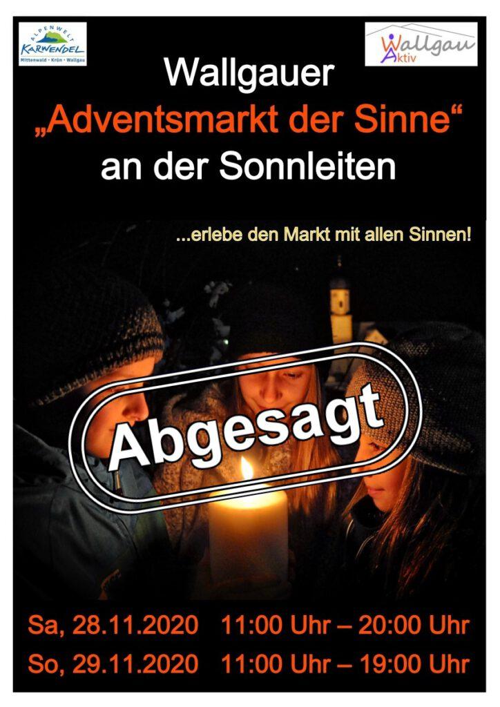 Adventsmarkt Wallgau 2020 abgesagt Plakat
